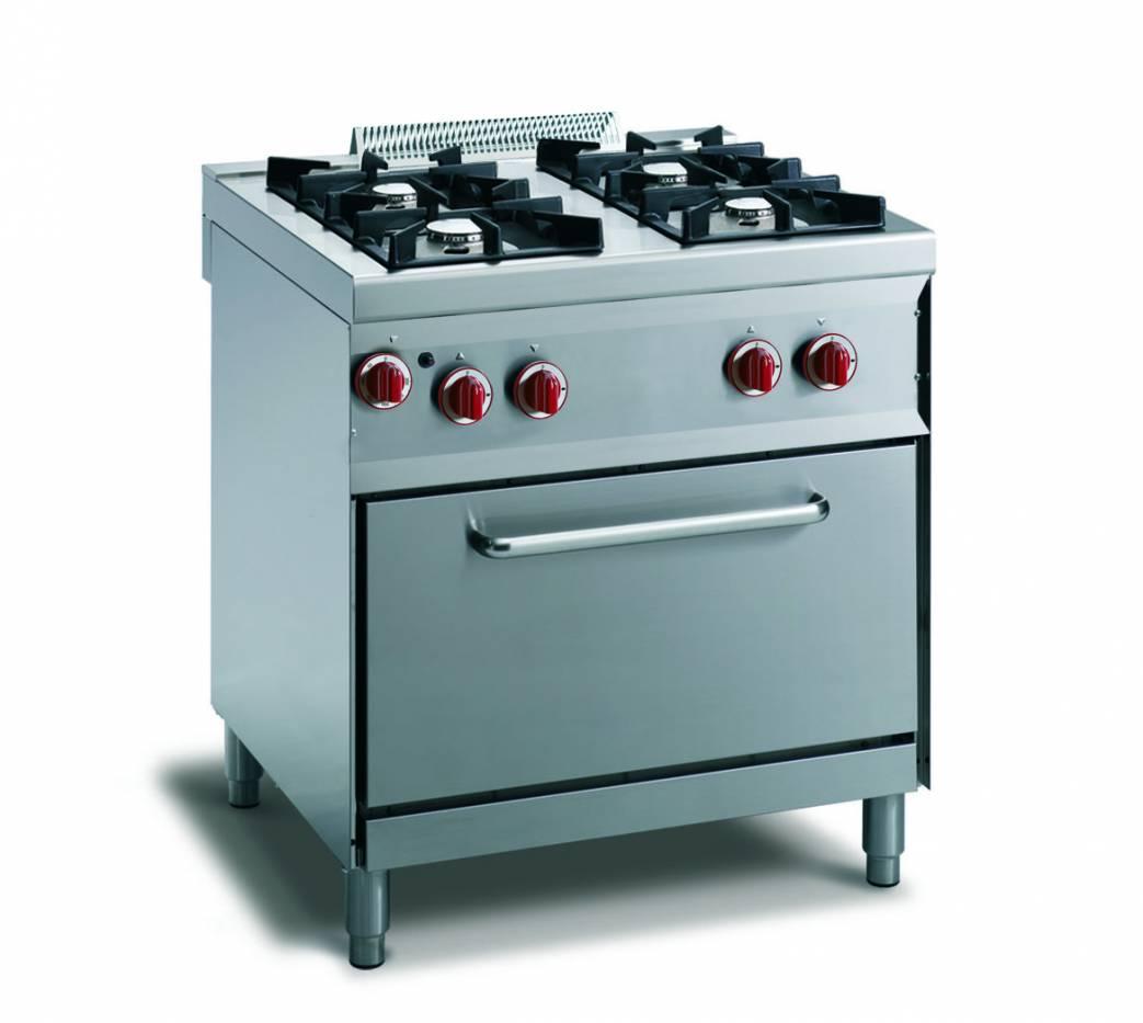 Cucina gas 4 fuochi fiamma pilota - forno gas gn 1/1 - vendita ...