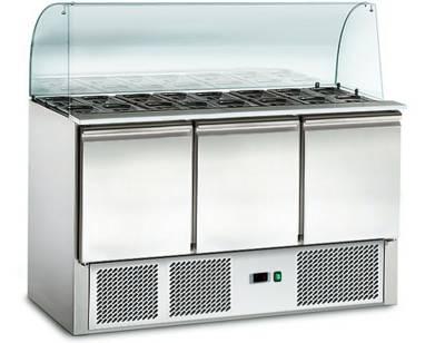 Amitek Saladette Refrigerate Statiche (4 x GN 1/1) con vetro curvo - AK903G