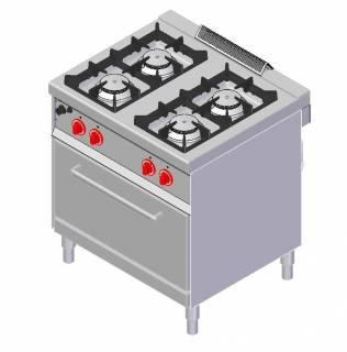 CookTek Cucina gas 4 fuochi fiamma pilota - forno gas gn 2/1