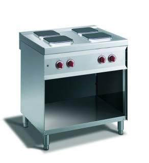 CookTek Cucina elettrica 4 piastre quadre vano a giorno